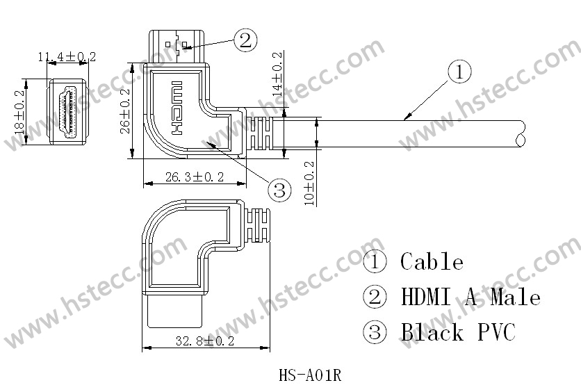 Type Fcc Flat Conductor Cable : Hdmi m type a right degree molding
